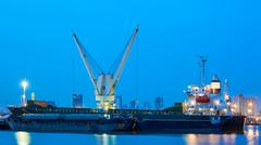 logistic concept, container cargo ship transport import export in harbor and  - stock photo