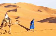 Stock Photo of camel caravan going through the sand dunes in the sahara desert, morocco.