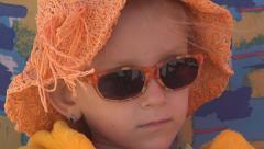 Portrait of Sunglasses Little Girl on Beach, Happy Child, Kid on Seashore, Sea Stock Footage