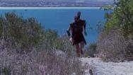 Stock Video Footage of Ancient marathon runner running on stone path