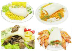 Squid meal with corn Stock Illustration