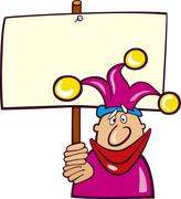 Stock Illustration of Funny Jester with Board