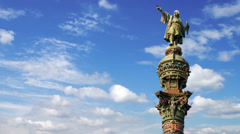 Timelapse of the Christopher Columbus monument in Barcelona, Spain Stock Footage