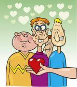 Ugly boys in love Stock Illustration