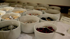 Bowls on a Buffet Table Stock Footage