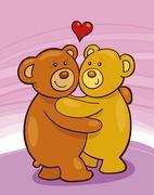 Teddy bears in love - stock illustration