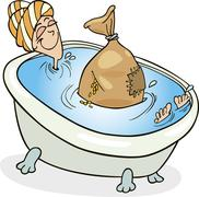 Stock Illustration of Woman taking bath with cereals