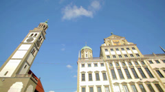 Church Tower and City Hall in Augsburg, Germany Stock Footage