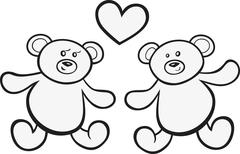 Stock Illustration of Teddy bears in love for coloring book