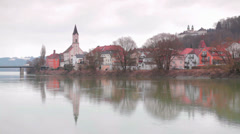 Passau City View From River Stock Footage