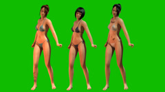 Hot sexy Girls dancing in Bikini - separated on green screen - stock footage