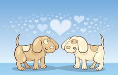 Puppies in love - stock illustration