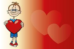 Stock Illustration of Boy with big heart