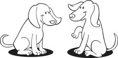 Stock Illustration of two dogs for coloring book