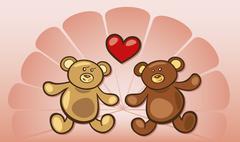 Stock Illustration of Teddy bears in love