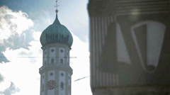 Tower of Basilica Saint Ulrich and Afra Stock Footage