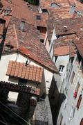 Stock Photo of barga a medieval hilltop town in tuscany.