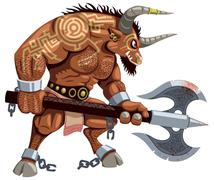 Minotaur on White Stock Illustration