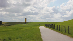 North Sea, Friesland, Lighthouse Stock Footage