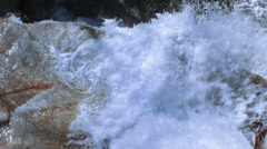 Waterfall with green river water and water drops Stock Footage