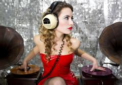 Beautiful disco dj with gramophones Stock Photos
