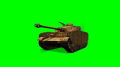 WW2 German  Battle Tank in drive - green screen Stock Footage