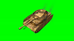 WW2 German  Battle Tank in drive - green screen Stock Footage