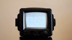 Old Portable Tube CRT T.V.  Nothing On T.V. White Noise Close Up TV Screen Stock Footage