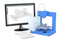 3d printer, from sketch to prototype - stock illustration