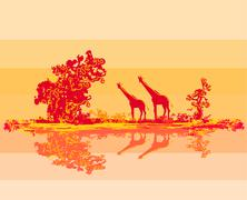grunge background with african fauna and flora - stock illustration