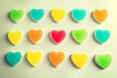 Jelly hearts isolated - stock photo