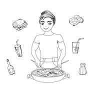 Stock Illustration of cartoon male dressed in grilling attire cooking meat.barbecue icon vector set