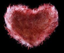 Red fluffy fur Heart Stock Photos