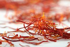 Spanish saffron treads super macro shot Stock Photos