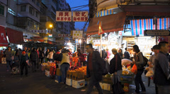 Hong Kong Chinatown Sham Shui Po grocery vegetable market shopping China Asia Stock Footage