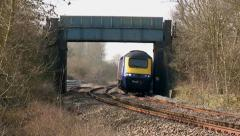 Dramatic Shot of A Fast Moving British Express Train Stock Footage