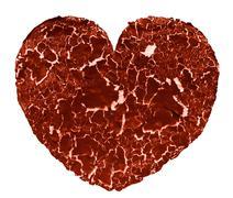 cracked painted Heart shape - stock photo