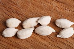 Eight white cardamom pods  - stock photo