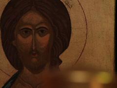 Prayer lighting candle jesus christ easter resurrection icon macro Stock Footage