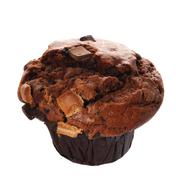 single triple chocolate muffin isolated - stock photo