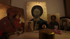prayer praying jesus christ easter resurrection icon religion faith - stock footage