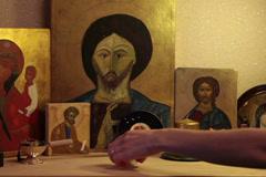 prayer lighting tealight candle praying jesus christ easter resurrection icon - stock footage