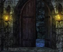 gate castle backdrop - stock illustration
