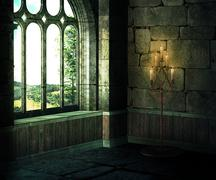 Medieval room background Stock Illustration
