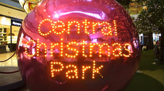 Hong Kong IFC Central Christmas park decoration Stock Footage