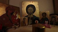 prayer lighting candle praying jesus christ easter resurrection icon religion - stock footage