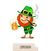 Leprechaun with beer smokes a pipe Stock Illustration