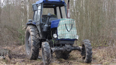 Old wheel tractor Stock Footage