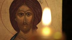 burning candle  jesus christ easter resurrection icon macro - stock footage