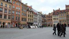Tenements in the old town in Warsaw, Poland. UNESCO World Heritage Site. Stock Footage